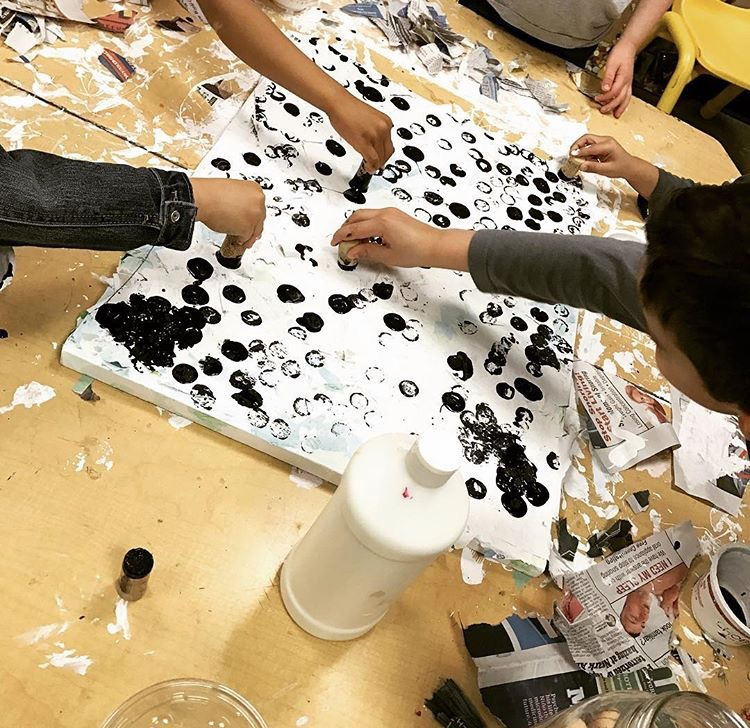 GROUP STAMPING ON CANVAS