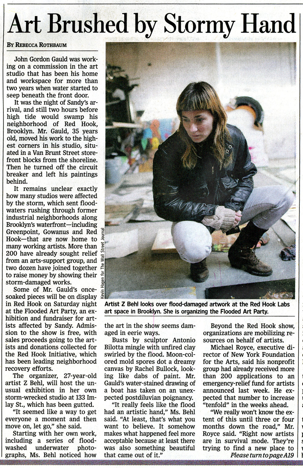 Wall St Journal article about the Flooded Art Show curated by Z Behl.