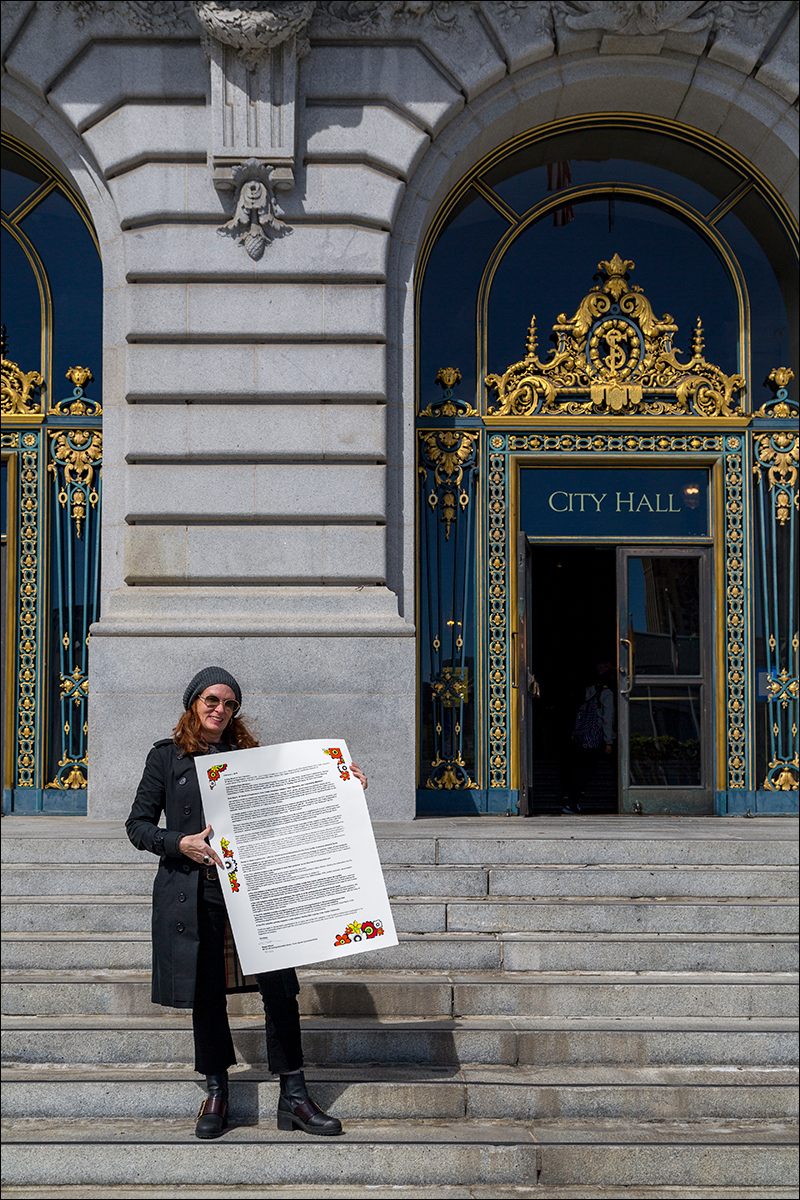 Megan Wilson outside of San Francisco's City Hall with her  Letter to Civic Center Commons Stakeholders .