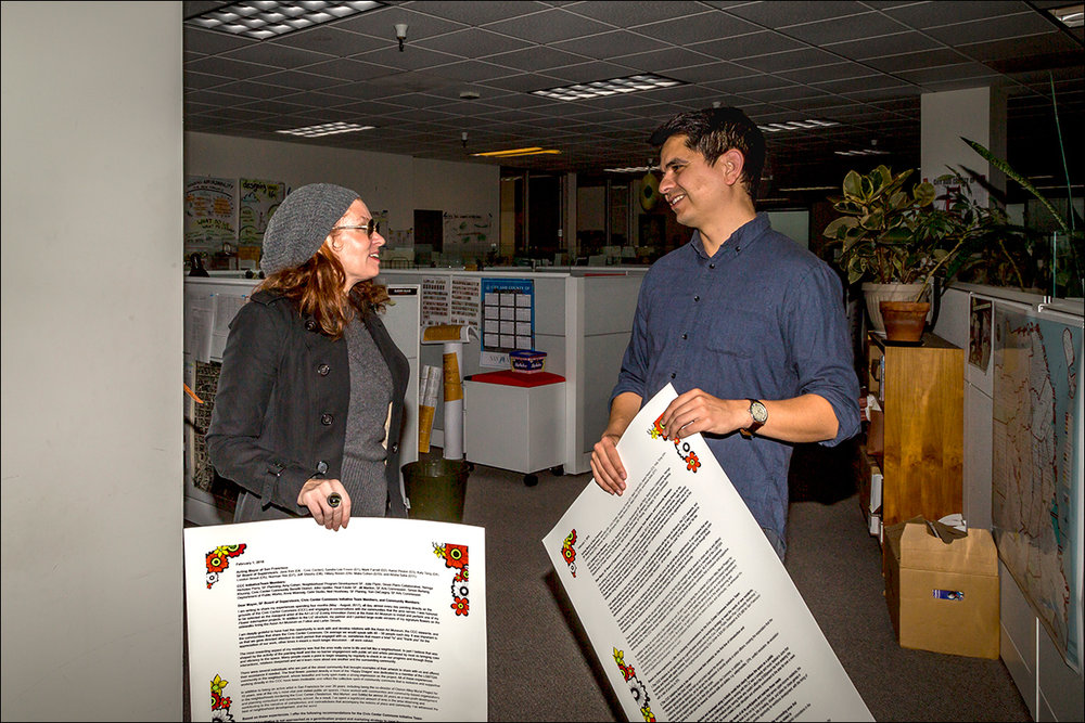Delivering broadside letter to Nicholas Perry, Senior Urban Designer and City Planner, San Francisco Planning Department