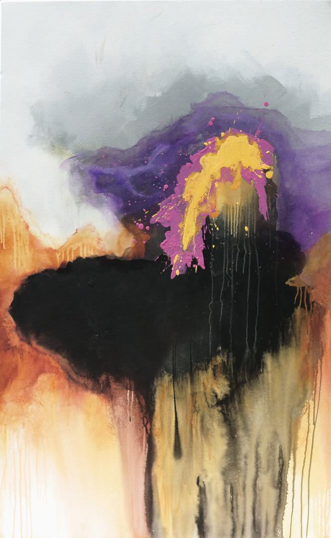DES PAS DANS LA NUIT | 152 cm x 91 cm / 60″ x 36″ | Mixed media on canvas