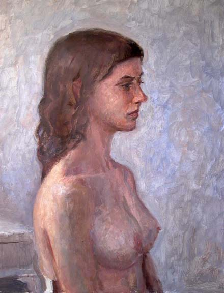 "Female, Profile Nude, 22"" x 17"", oil on linen"