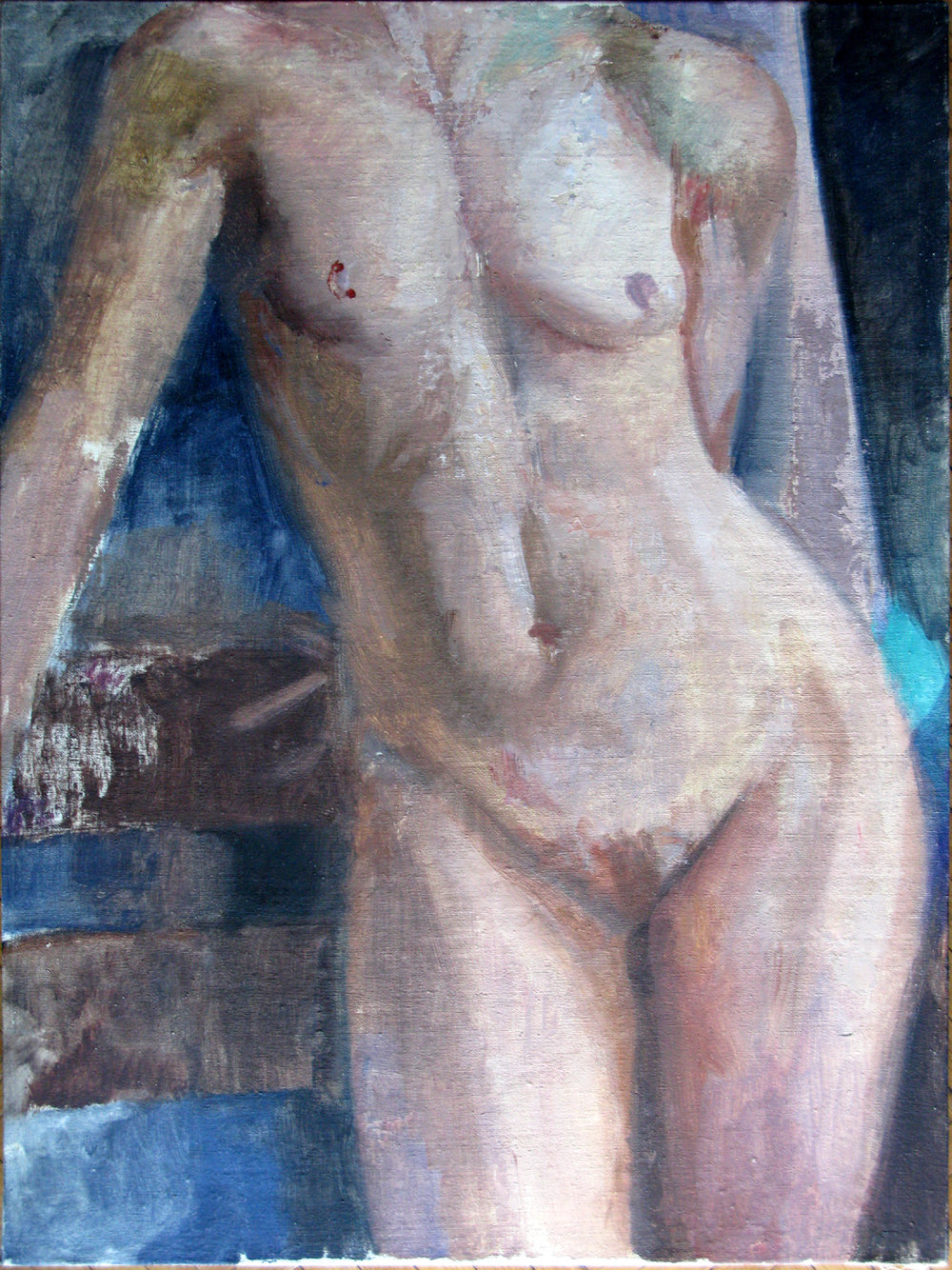 "Eva, Torso, 24"" x 18"", oil on panel"
