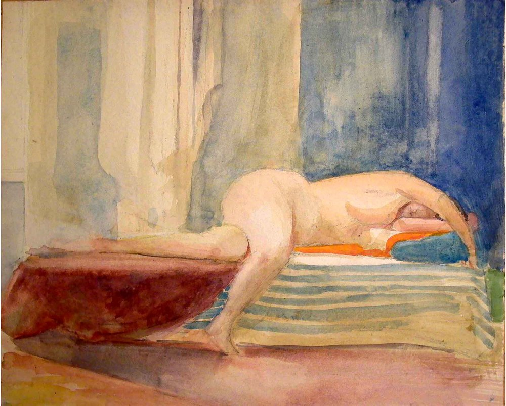 "Reclining Female Nude, 1988, 14"" x 17"", watercolor"