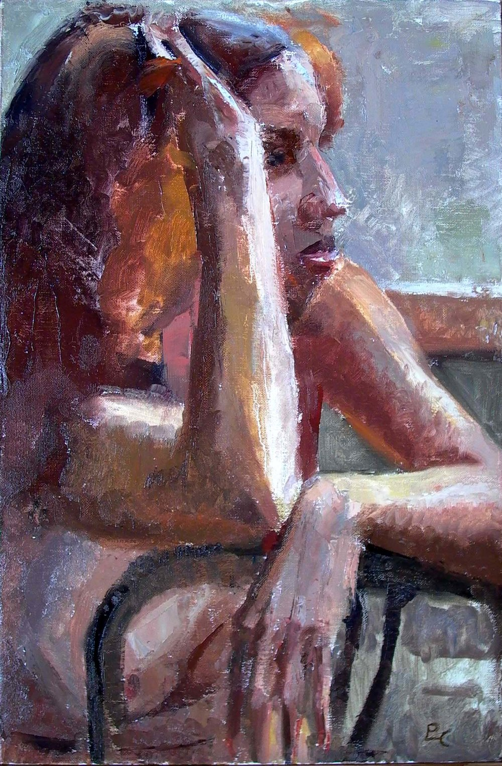 "Red Head, 18"" x 12"", oil on linen"