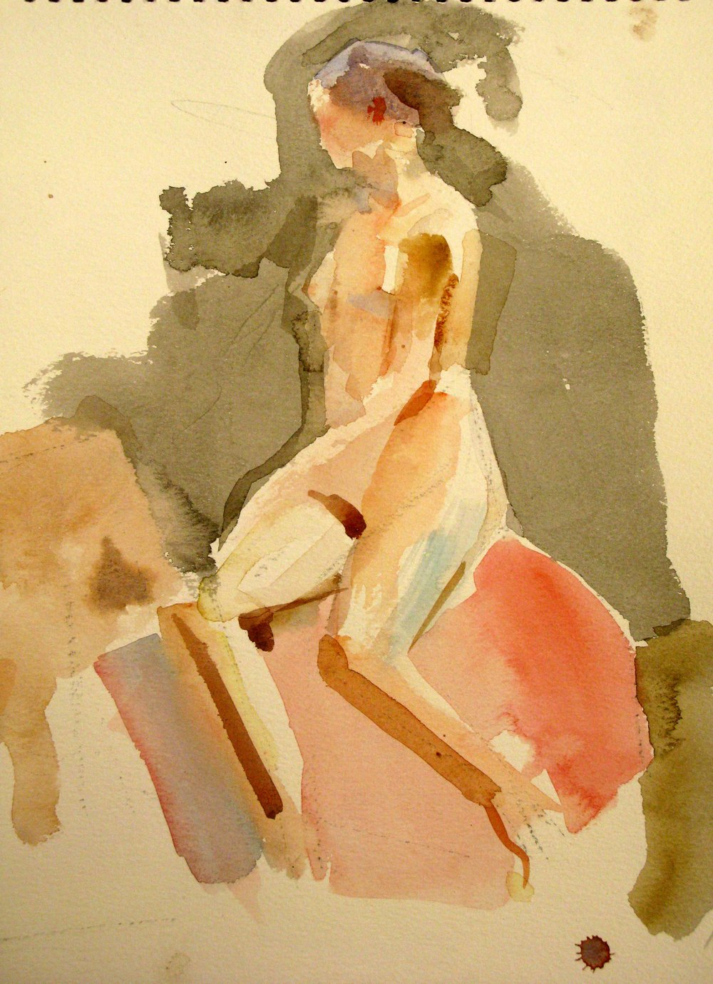 "Seated Female Nude on Rose Drapery, 13.5"" x 10"", watercolor and ink"