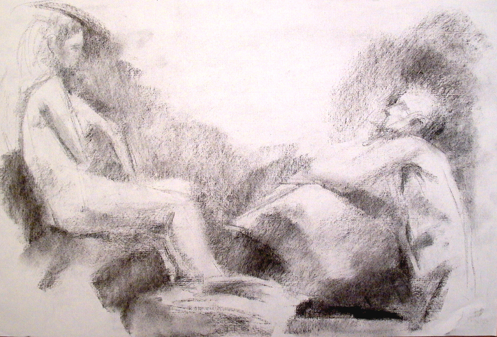 "See Saw, Two Nudes, 12"" x 18"", charcoal"