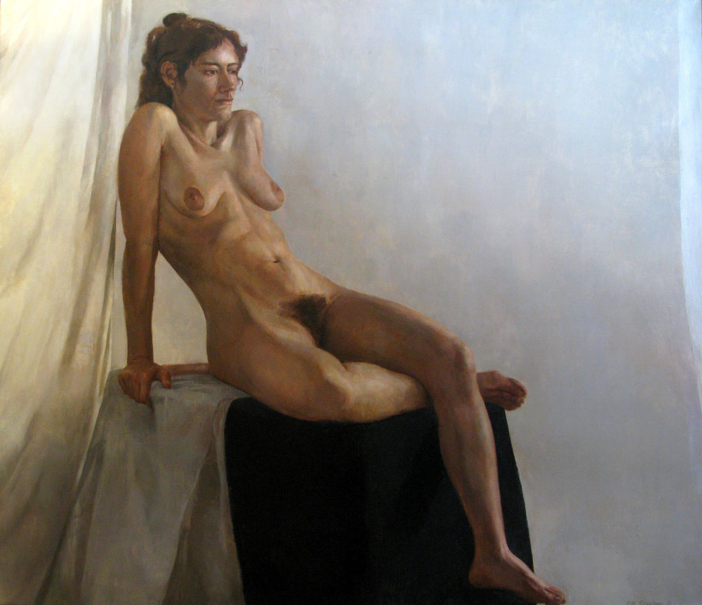 "Seated Female Nude, 50"" x 60"", oil on linen"
