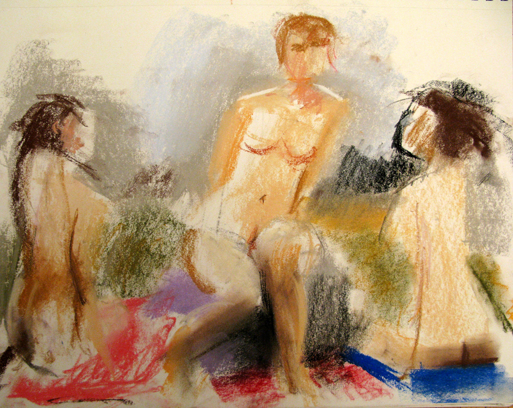 "Three Female Nudes, 14"" x 17"", pastel"