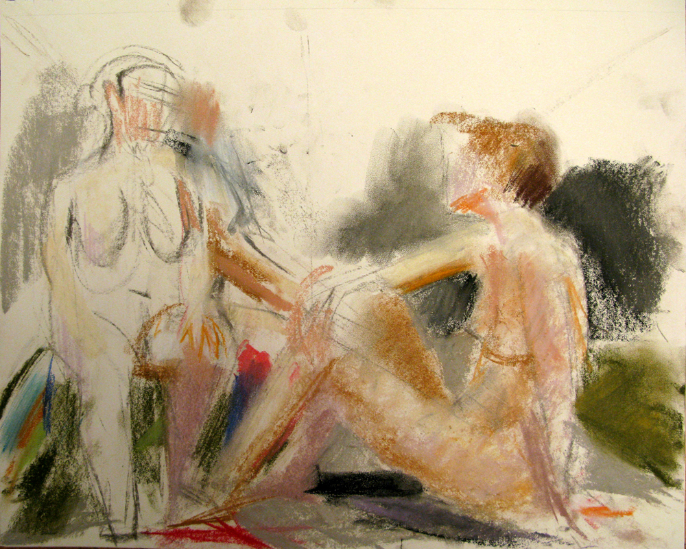 "Three Figures, 14"" x 17"", pastel"