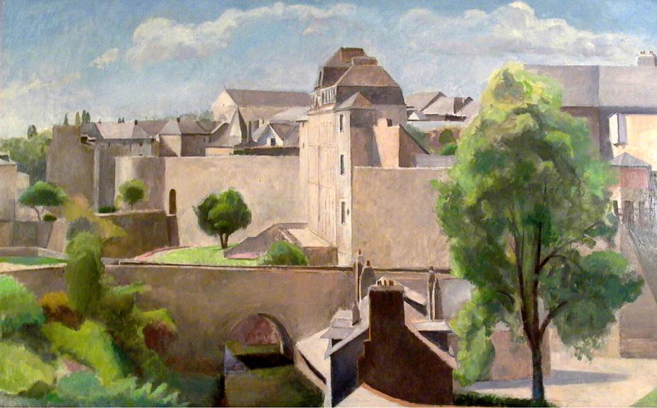 """Chateau de L'Hermine, 32"""" x 55"""", detail oil on linen"""