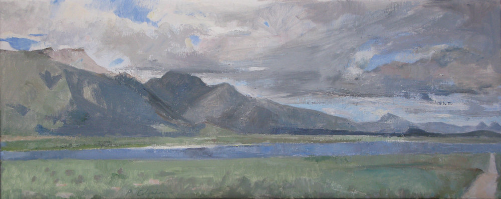 "East of Crowley Lake, Layton Springs Road 2, 14"" x 36"", oil on linen"