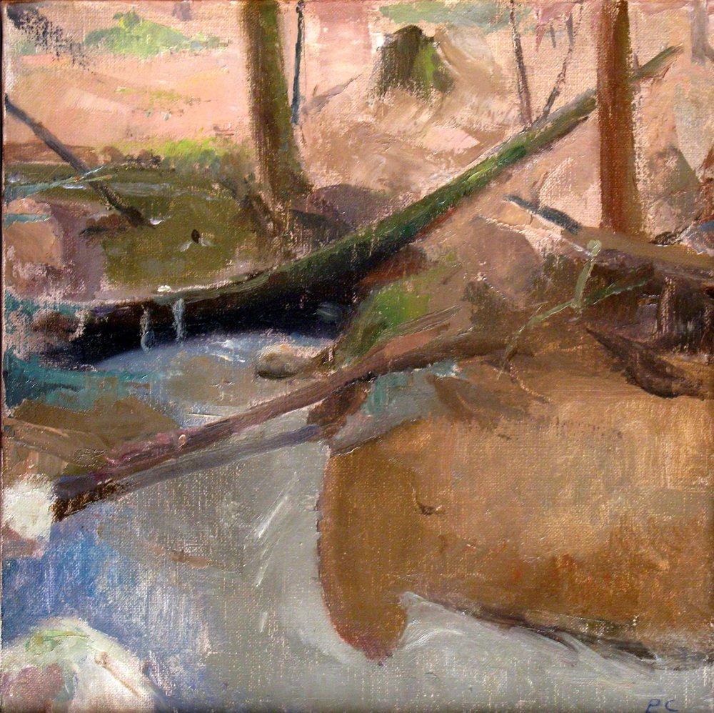 """Fallen Trees in a Stream, 12"""" x 12"""", oil on linen"""
