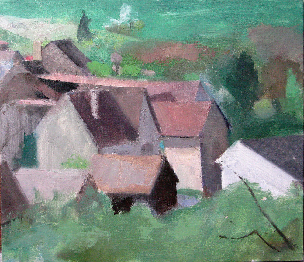 "Irancy, Houses, 13"" x 15"", oil on panel"