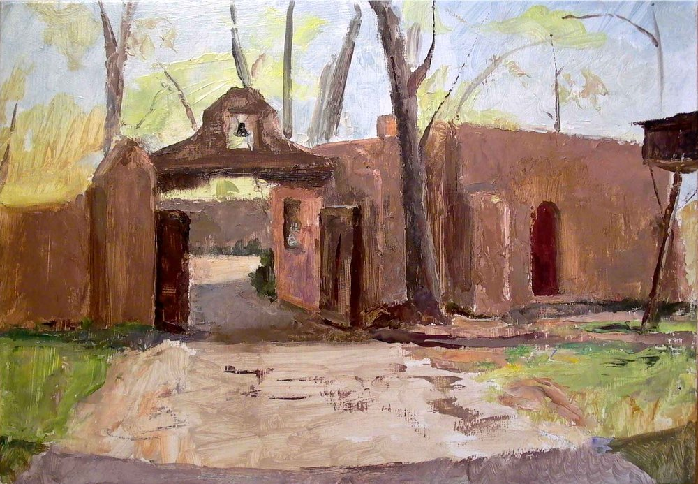 "Mabel Luhan Dodge Courtyard, 12"" x 17"", oil on panel"