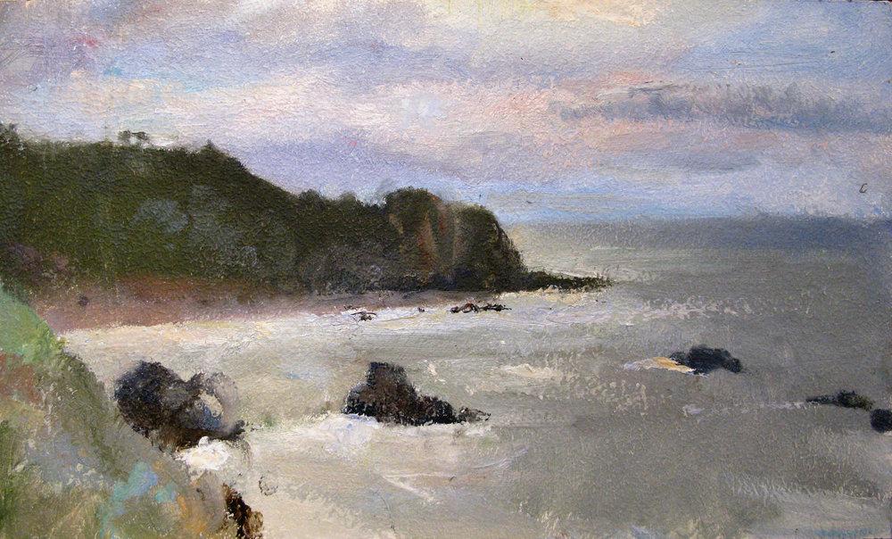 """Patrick's Point Shore, View Toward Tobago,  9.5"""" x 15.5"""", oil on masonite"""