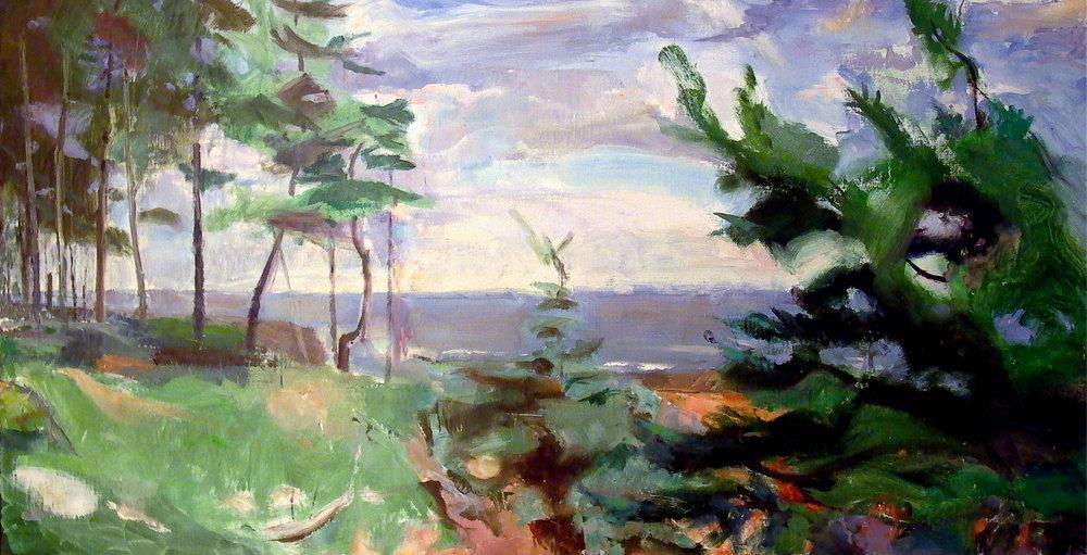 """Pine Niche, 18"""" x 36"""", oil on linen"""