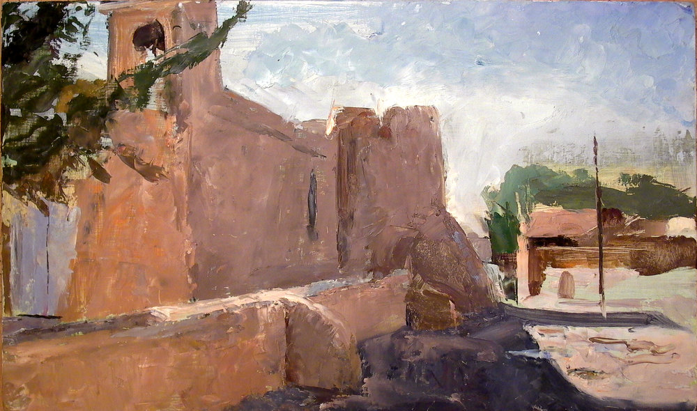 "Ranchos Church, Taos, 12"" x 17"", oil on panel"