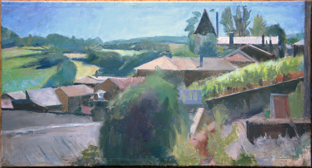"Solutre Roofs, 17"" x 32"", oil on linen"