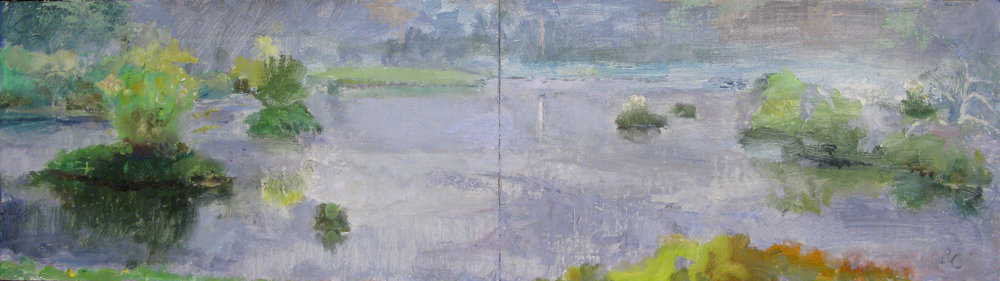 "Submerged Forest Diptych, Fog, 8"" x 31"", oil on muslin mounted on panel"