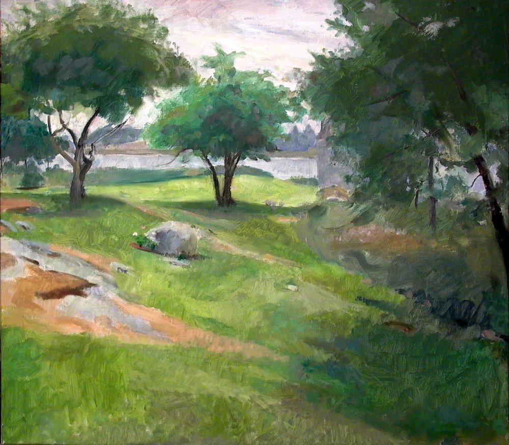 """Toward Robert LaHotan's Studio, 28"""" x 30"""", oil on linen"""