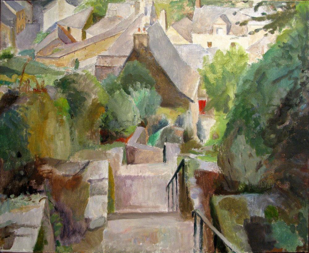 "Village Stairs, G9, 26"" x 32"", oil on linen"