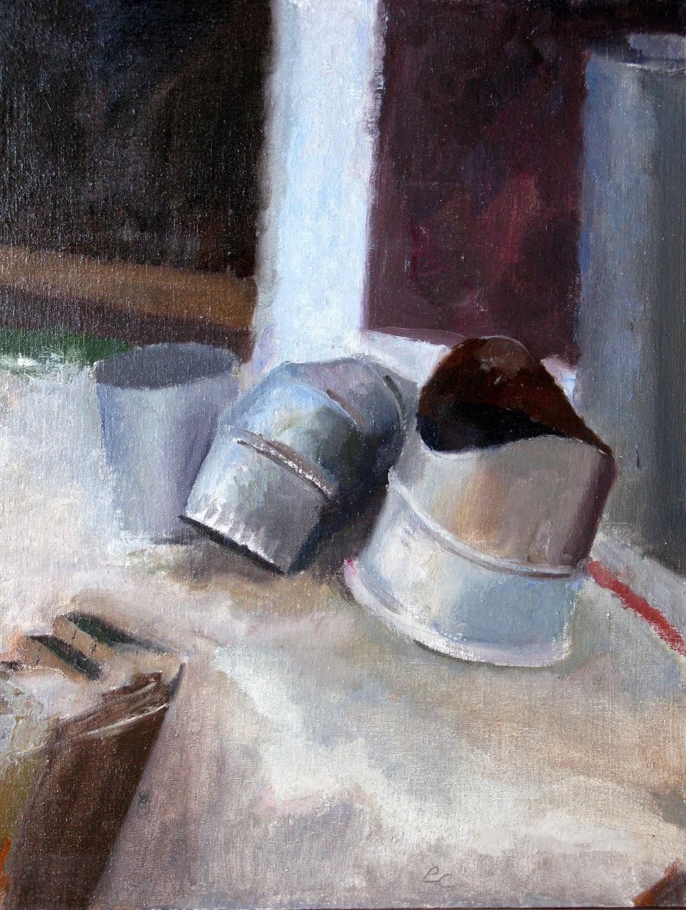 "Assorted Fittings, 24"" x 18"", oil on muslin on panel"
