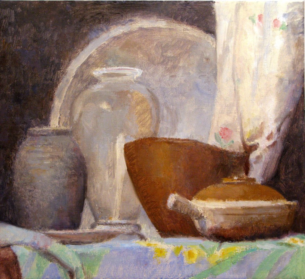 "Glass Vase, Ceramic Pot and Wooden Bowl, 21"" x 23"", oil on linen"