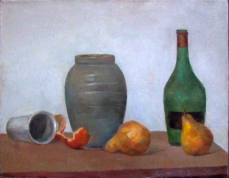 "Pears, Jug and Wine Bottle, 16"" x 20"", oil on linen"