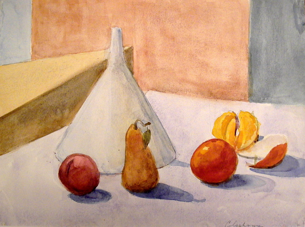 "Plum, Pear, Oranges and Funnel, 9.5"" x 12.5"", watercolor"