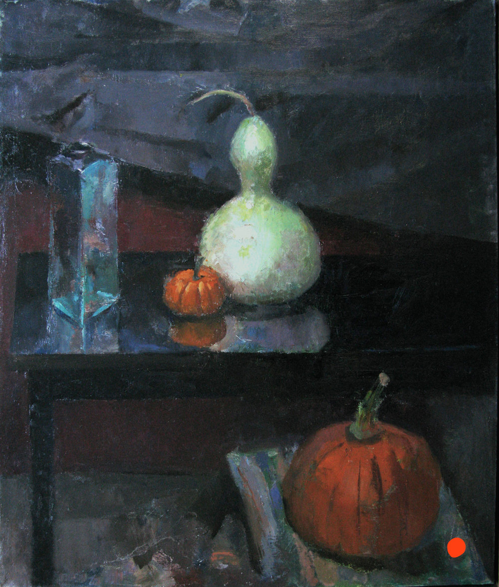"Pumpkins, Gourd and Bottle, 31"" x 27"", oil on linen"