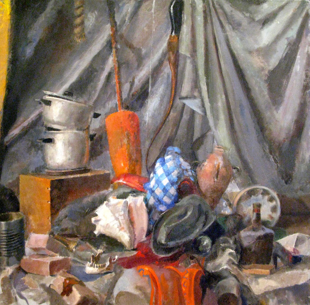 "Still Life with Bricks, Bottles, G9, 48"" x 48"", oil on linen"