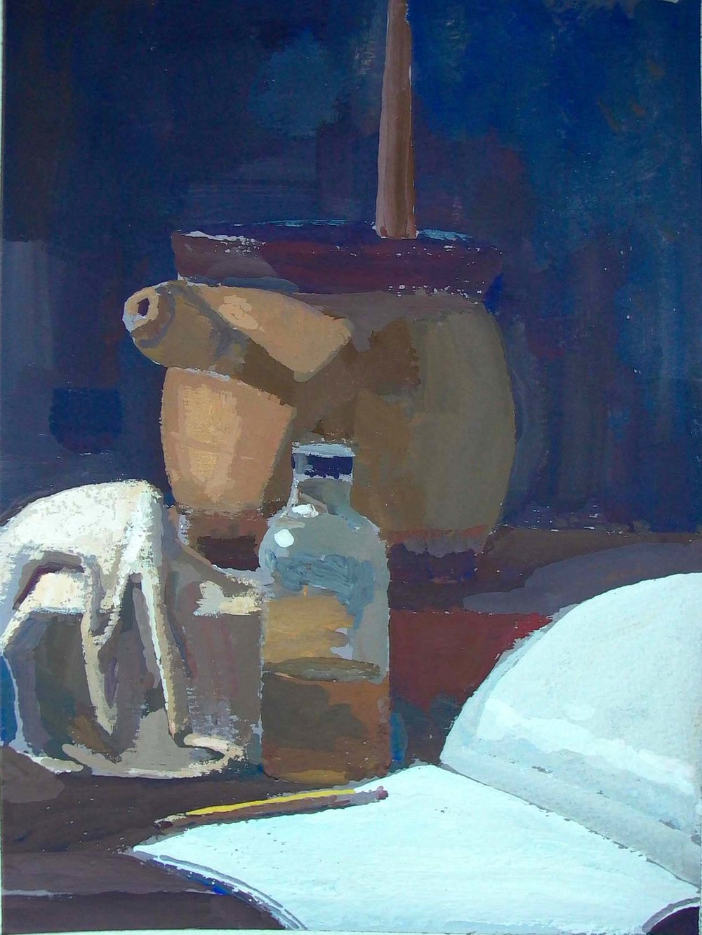 "Still Life with Linseed Oil and Pot, 11"" x 8.5"", gouache"