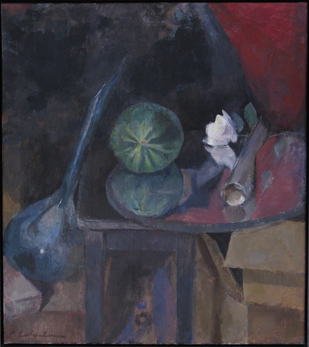 "Still Life with Melon, 28"" x 25"", oil on linen"