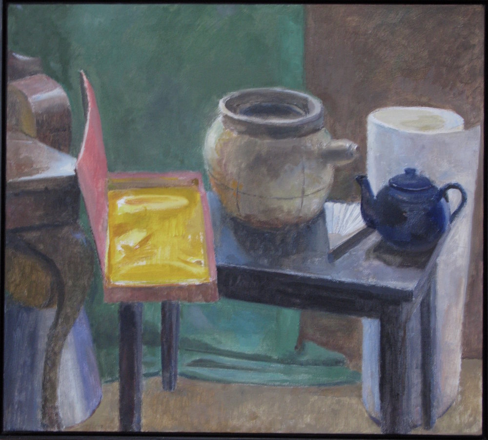 "Still Life, Red Box and Tea Pot, 27"" x 30"", oil on linen"