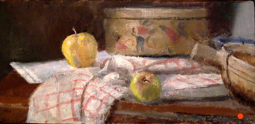 "Two Apples, 8"" x 17"", oil on linen"