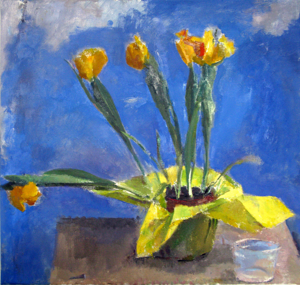 "Yellow Tulips, 22"" x 23"", oil on linen"