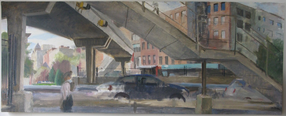 "Laight Street Pedestrian Bridge, 22"" x 55"", oil on linen"