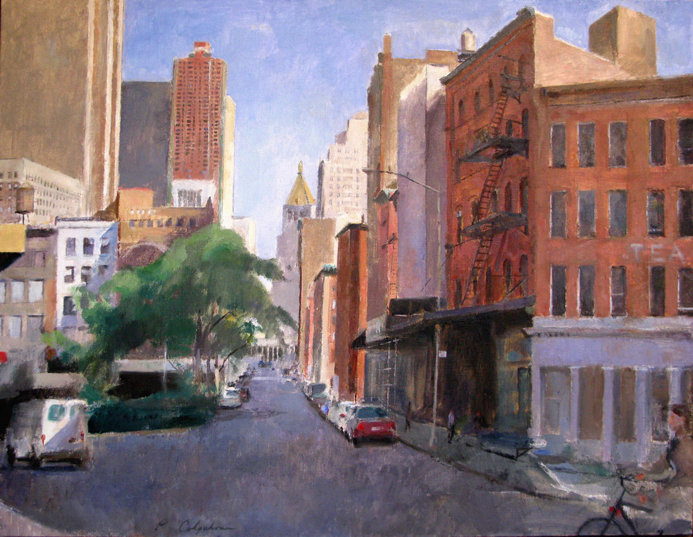 "Looking East on Duane Street, 32"" x 42"", oil on linen"