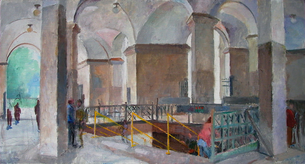 Municipal Building Subway Stairs, 20 x 37 inches, oil on linen