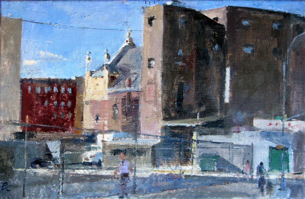 "Pike St. Lot with Eldridge St Synagogue, 11"" x 17"", oil on linen"