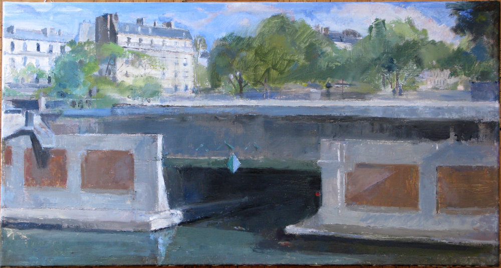 "Paris Metro Bridge, Near Place Bastille, 17"" x 32"", oil on linen"