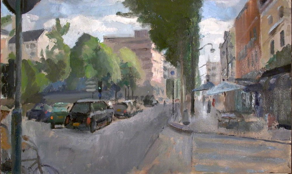 "Place de Bretagne, 15"" x 23"", oil on muslin on panel"