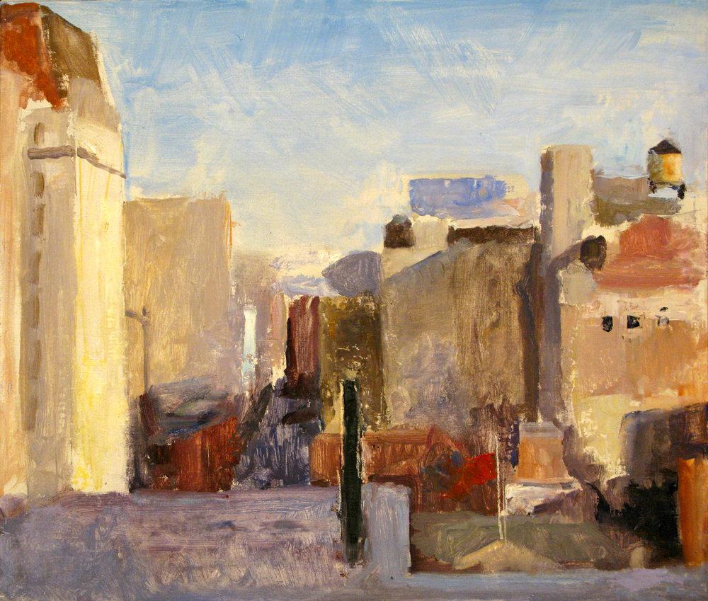 "Seventeenth Street, 16"" x 19"", oil on panel"