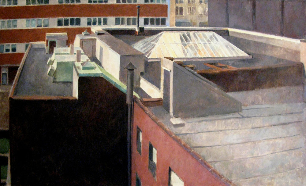 "Trimble Lane Roofs, 36"" x 62"", oil on linen"