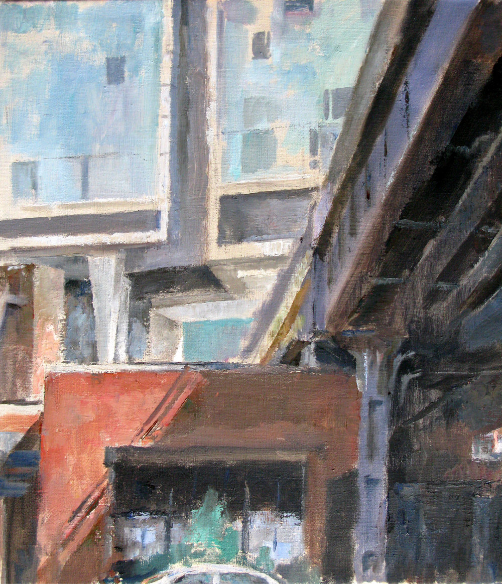 "Under the High Line, 28"" x 23"", oil on linen"