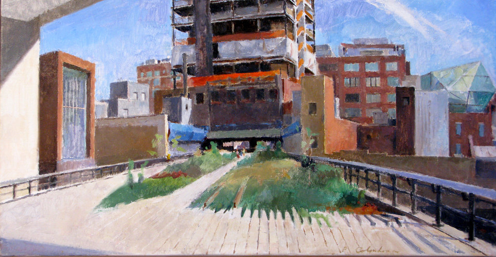 "Under the Standard on the Highline, 19"" x 38"", oil on linen"