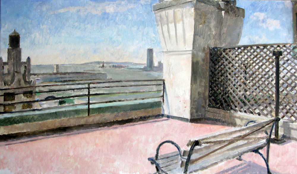 "View from Westbeth Roof, 25"" x 43"", oil on linen"