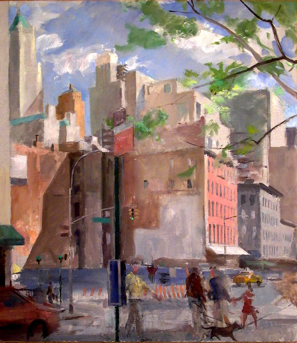 West Broadway and Chambers, oil on linen, 30 x 26 inches