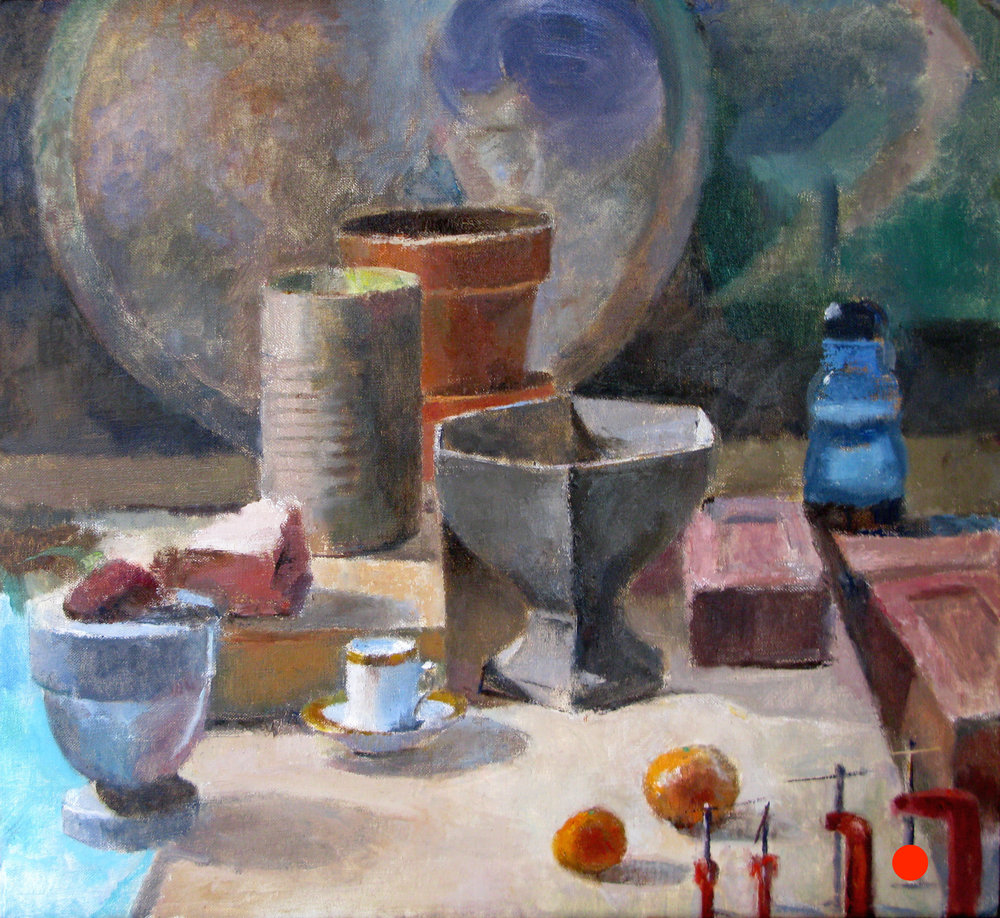 Still life with Tea Cup and Oranges, 22 x 24 inches, oil on linen